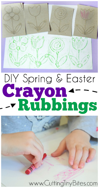 DIY crayon rubbing plates with spring or Easter designs. Make Easter eggs, flowers, bunnies, or chicks with this fun fine motor activity for preschoolers, kindergarteners, or elementary children.