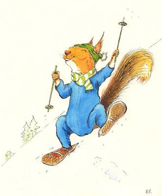 illustration squirrel children jeunesse écureuil holiday winter vacance neige