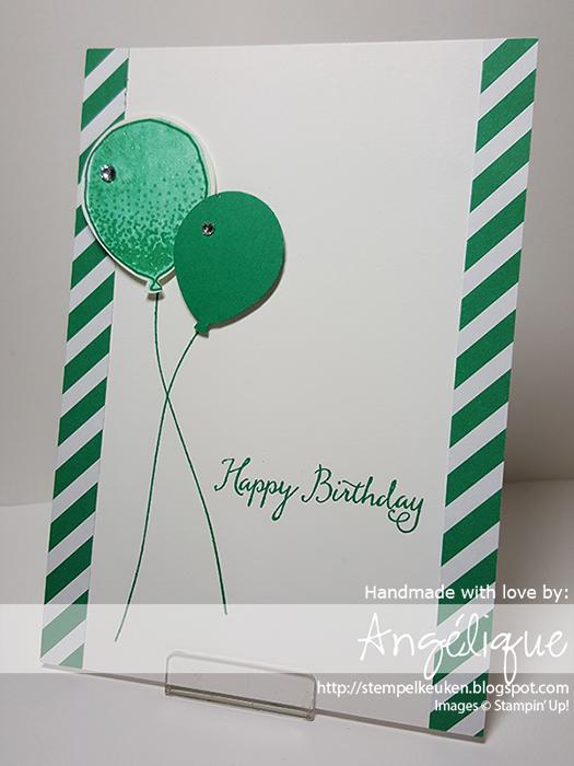 http://stempelkeuken.blogspot.com De Stempelkeuken Balloon Celebration, Balloon Bouquet Punch, Emerald Envy, Whisper White Thick Cardstock, Wink of Stella, Rhinestone Basic Jewels