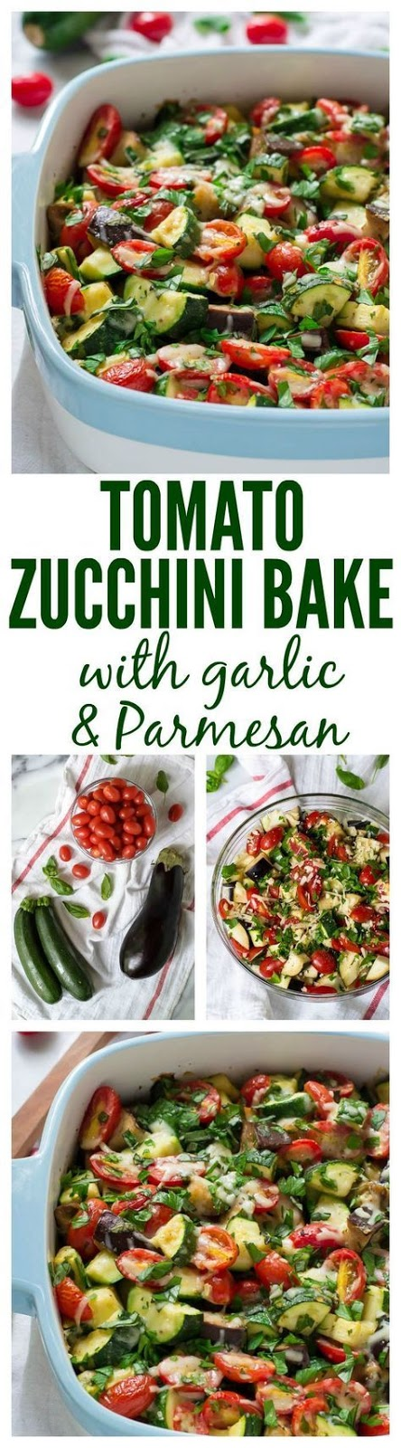 One of the most difficult fantasies for me to give up when we bought our house was having a garden. After six years of living in an apartment, I had romantic visions of planting my own vegetables, harvesting them with care, and using them to make beautiful summer recipes like today's Tomato Eggplant Zucchini Bake.