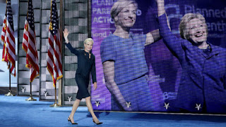 PPFA President Cecile Richards waves as she walks onto the stage at the Democratic National Convention where abortion advocacy was at a fever pitch. [Photo credit: Getty]