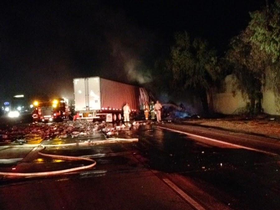 bakersfield highway 99 kern county big rig crash fire beer truck panama lane