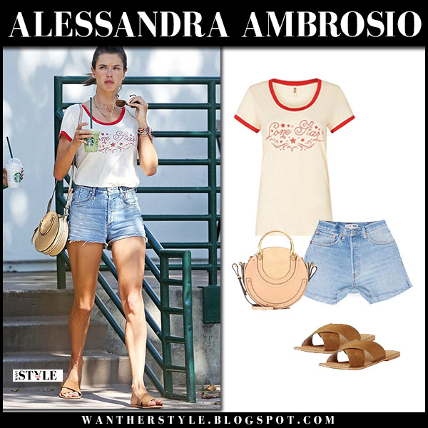 Alessandra Ambrosio in white printed tee, denim shorts and suede flats model street style july 16