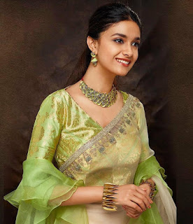 Mana Keerthy Suresh: Keerthy Suresh in Green Dress with Cute and Awesome Lovely Smile for Latest Ad Shoot