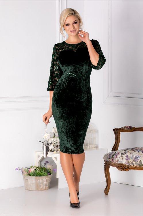 Rochie femei grasute verde eleganta de ocazie Broderie cu paiete