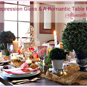 Romantic Valentine Tablescape and Pink Depression Glass