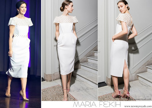 Crown Princess Mary wore Maria Fekih Esther cocktail midi wedding dress