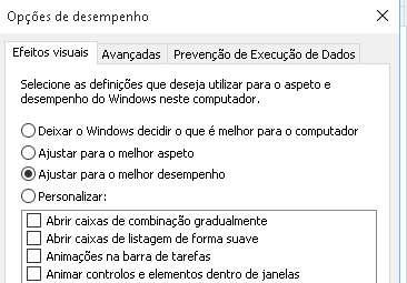 desativar animações do windows