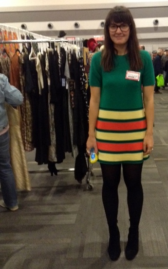 Working the Victoire booth at the Ottawa Vintage Clothing Show in a vintage knit dress