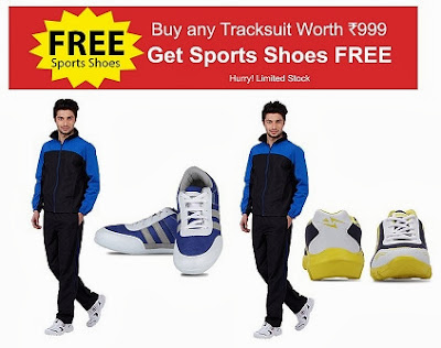Get Free Sports Shoe absolutely FREE with any Yepme Track Suit worth Rs.999 + Get Extra 10% Off on Pre-Paid Order
