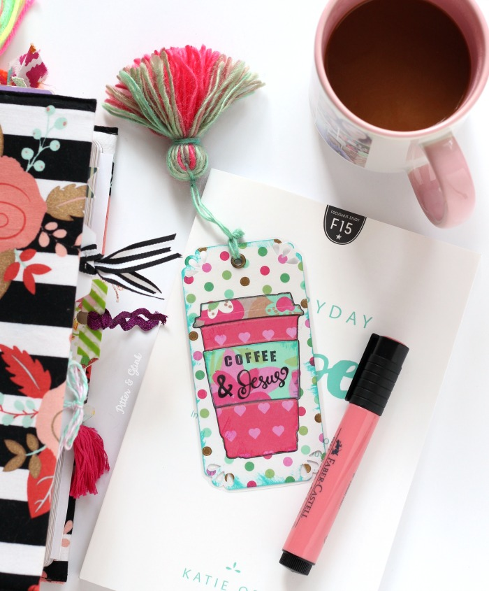 "Make a Tasseled ""Coffee and Jesus"" Bookmark 