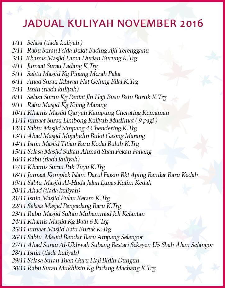 jadual kuliah uai november 2016
