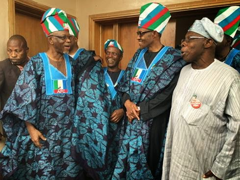 APC Presidential candidate Gen Buhari and other party leaders visited former President Obasanjo