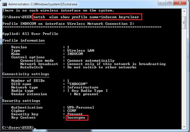 Cara Mudah Melihat Password Wifi Yang Masih Terhubung di Internet Dengan CMD