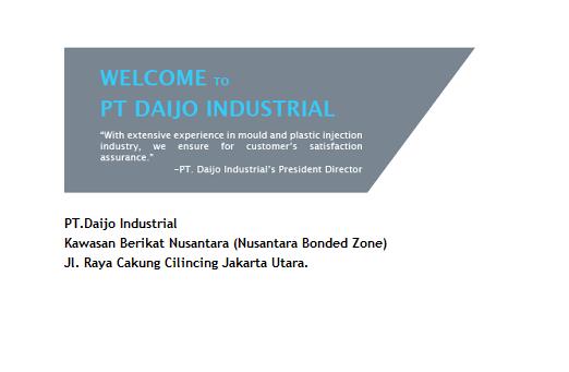 Lowongan Kerja 2018 Jakarta || PT.DAIJO INDUSTRIAL Bagian Operator Produksi VIA POS