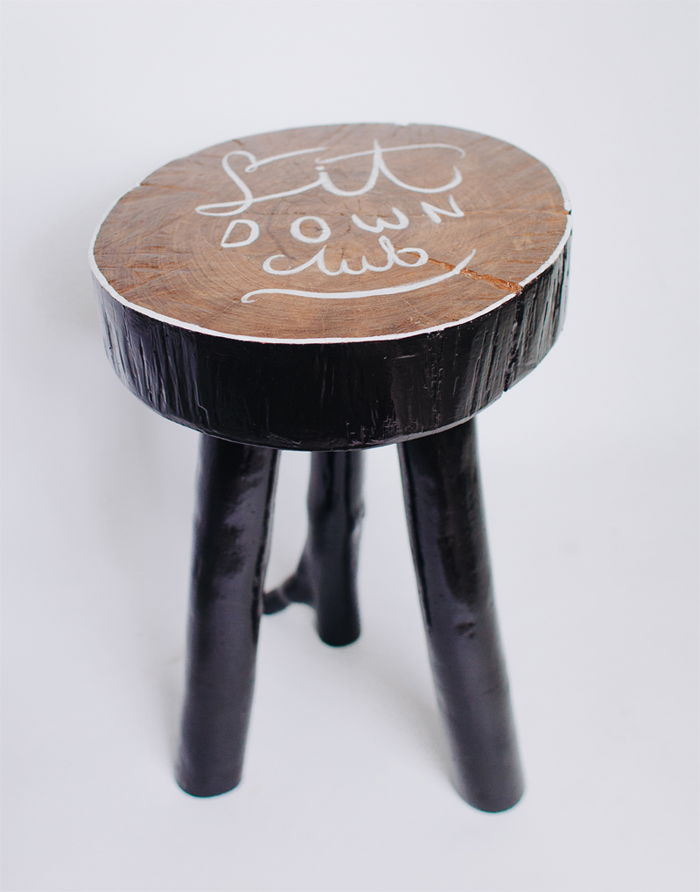 hand lettering wooden stool
