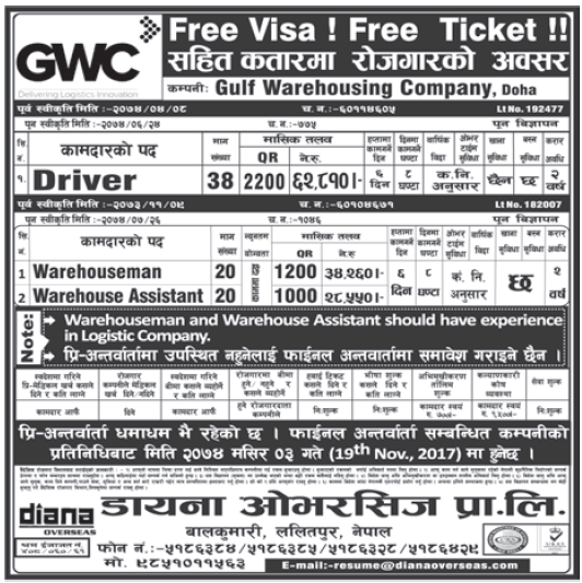 Free Visa Free Ticket Jobs in Doha Qatar for Nepali, Salary Rs 62,810