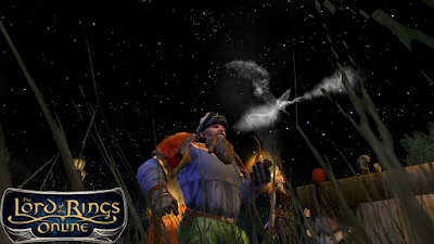 A dwarven minstrel breathing out a smoking dragon