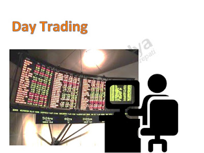 Picture shows a trader sitting before the computer trading in stocks