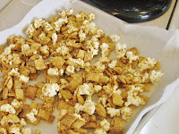 caramel coated popcorn & Chex cereal