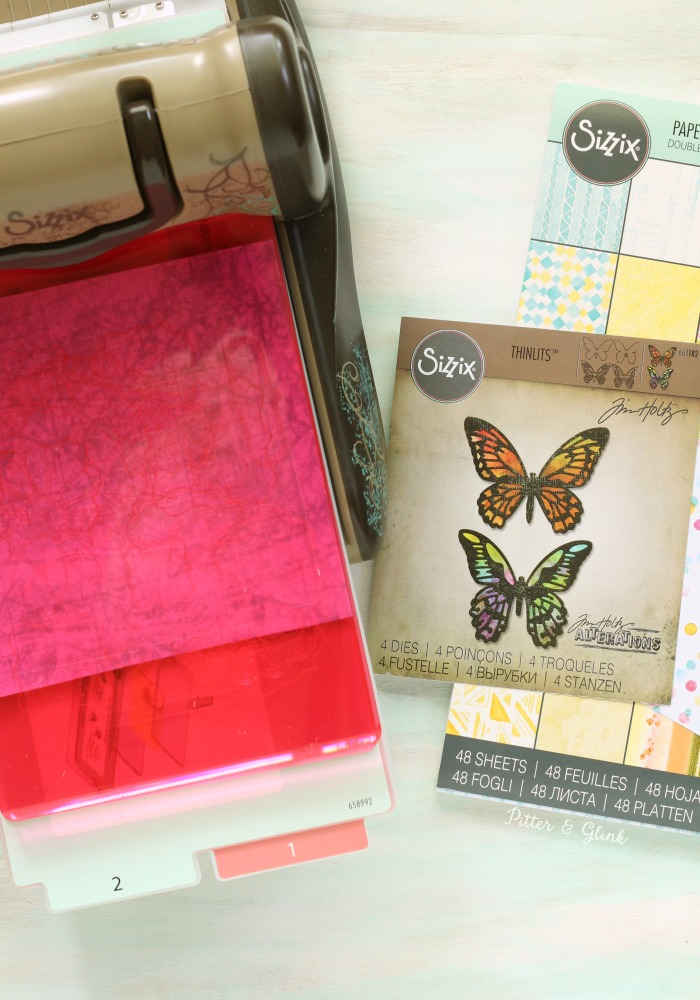 Cutting Sizzix Paper using Tim Holtz's Detailed Butterfly Thinlits | pitterandglink.com