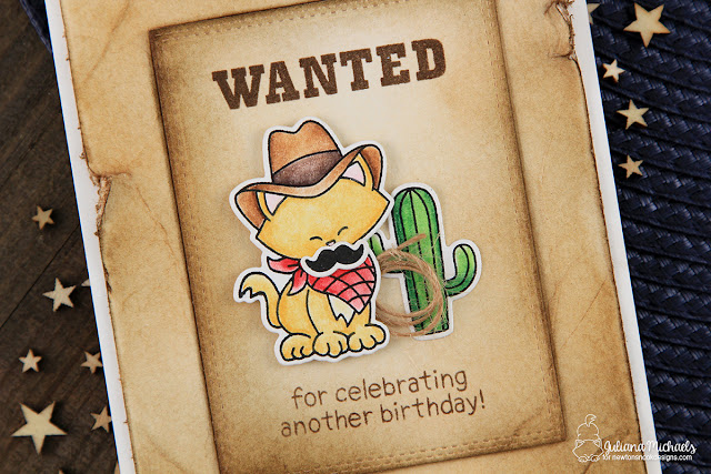Wanted Birthday Card with Old Paper Background by Juliana Michaels featuring Newton's Nook Designs Newton Rides West
