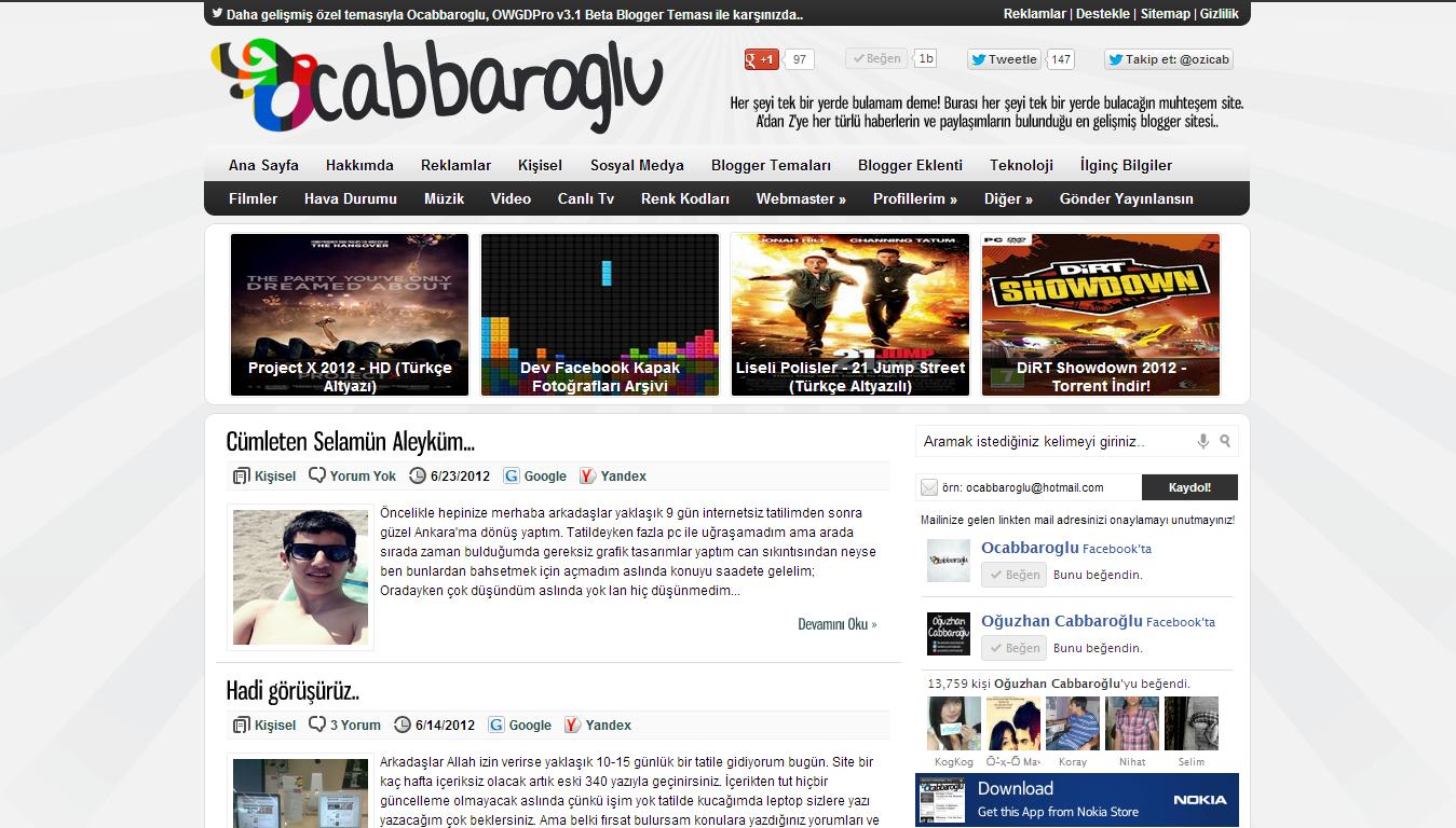 Ocabbaroglu Pro V2 Blogger Teması