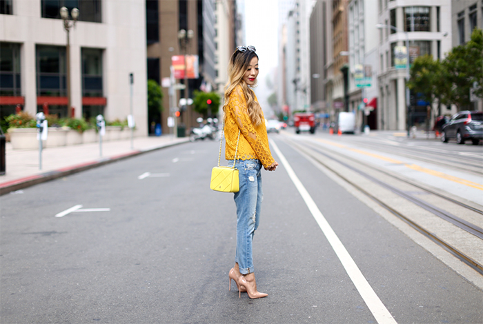 English factory lace blouse, lace blouse, 7fam boyfriend jeans, boyfriend jeans, tory burch bag, christian louboutin so kate pumps, kenneth jay lane earrings, gentle monster sunglasses, san francisco street style, san francisco california street