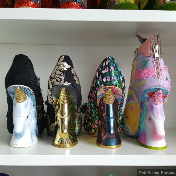 row of single unicorn heels, original, gold, two tone purple and rainbow