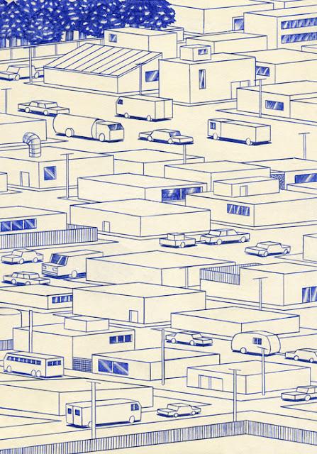 """Streets"" por Kevin Lucbert | dibujos geometricos artisticos, imagenes chidas, cool art drawings"
