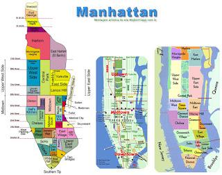 Mapas das áreas e bairros de Manhattan