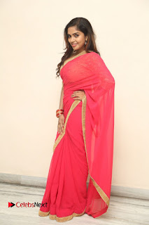 Actress Karunya Chowdary Pictures in Red Saree at Neerajanam Audio Launch  0123