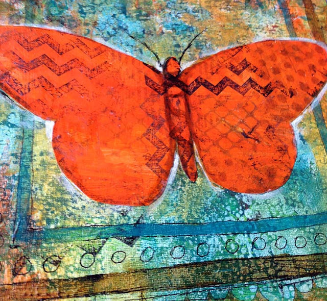 Mixed Media art | butterfly art | http://schulmanart.blogspot.com/2015/06/mixed-media-metamorphosis.html