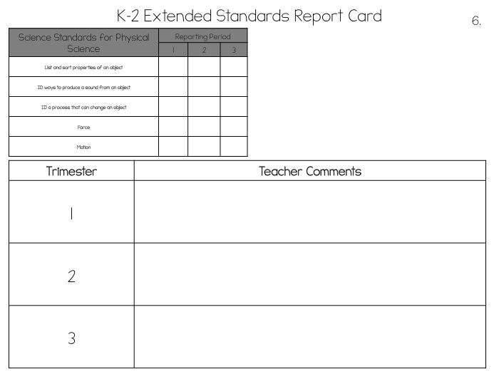 Extended Standards Report Cards Superheroes In SPED