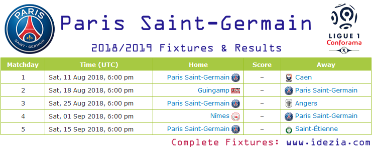Baixar calendário completo PNG JPG Paris Saint-Germain 2018-2019