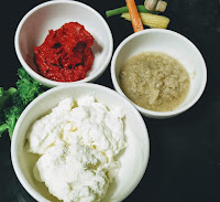 Greek yogurt,red chilly paste ginger garlic paste for Tandoori prawns