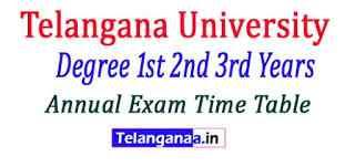 Telangana University (TU) 2nd 3rd Year Annual Exam Time Table