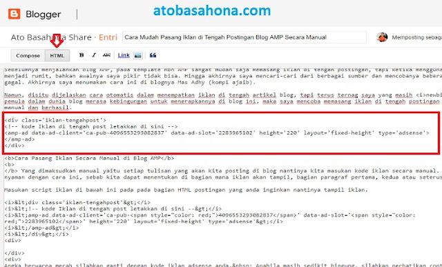 Cara Mudah Pasang Iklan di Tengah Postingan Blog AMP Secara Manual