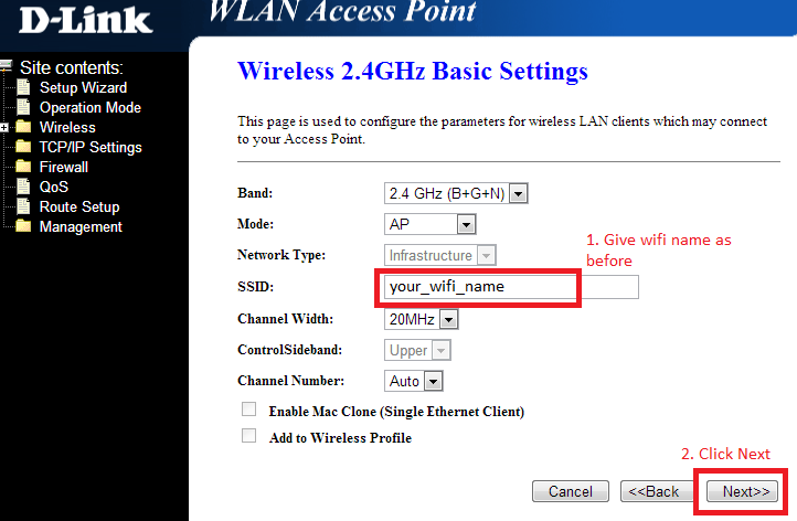 how to change wireless name tpg