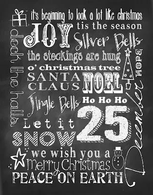 Christmas Subway Art Free Printable.Upcycled Education Holiday Chalkboard Art