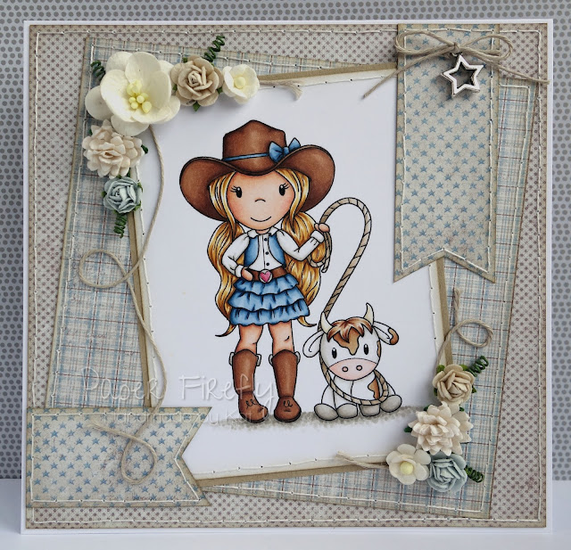 Cowgirl card; image from Paper Nest Dolls, papers by Maja Design