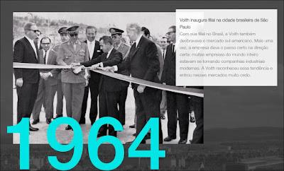 Em 1964 foi realizada a primeira assembleia geral para a constituição da Voith no Brasil, cuja fábrica foi inaugurada em 1966, no bairro Jaraguá. Foto: acervo Voith