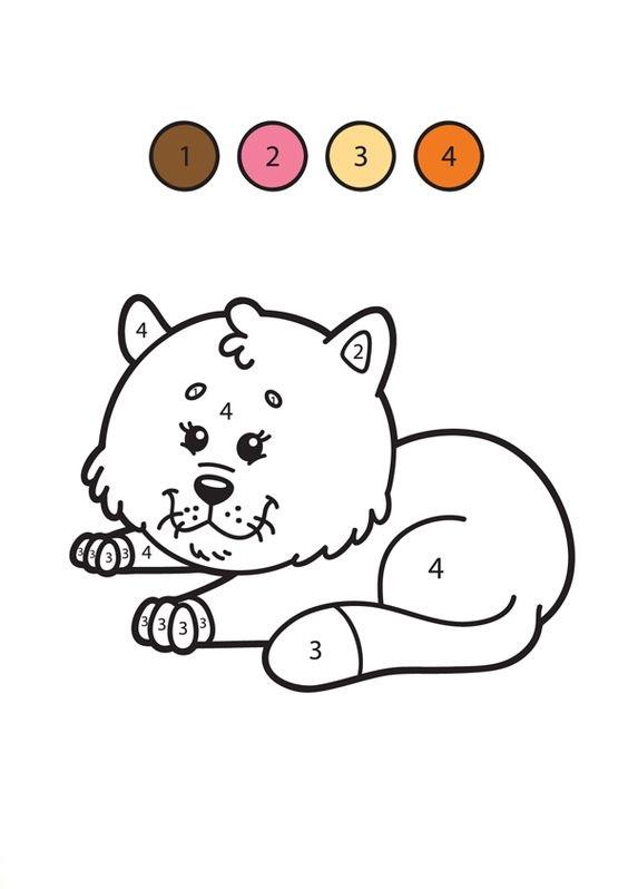 Hình tô màu con mèo theo số