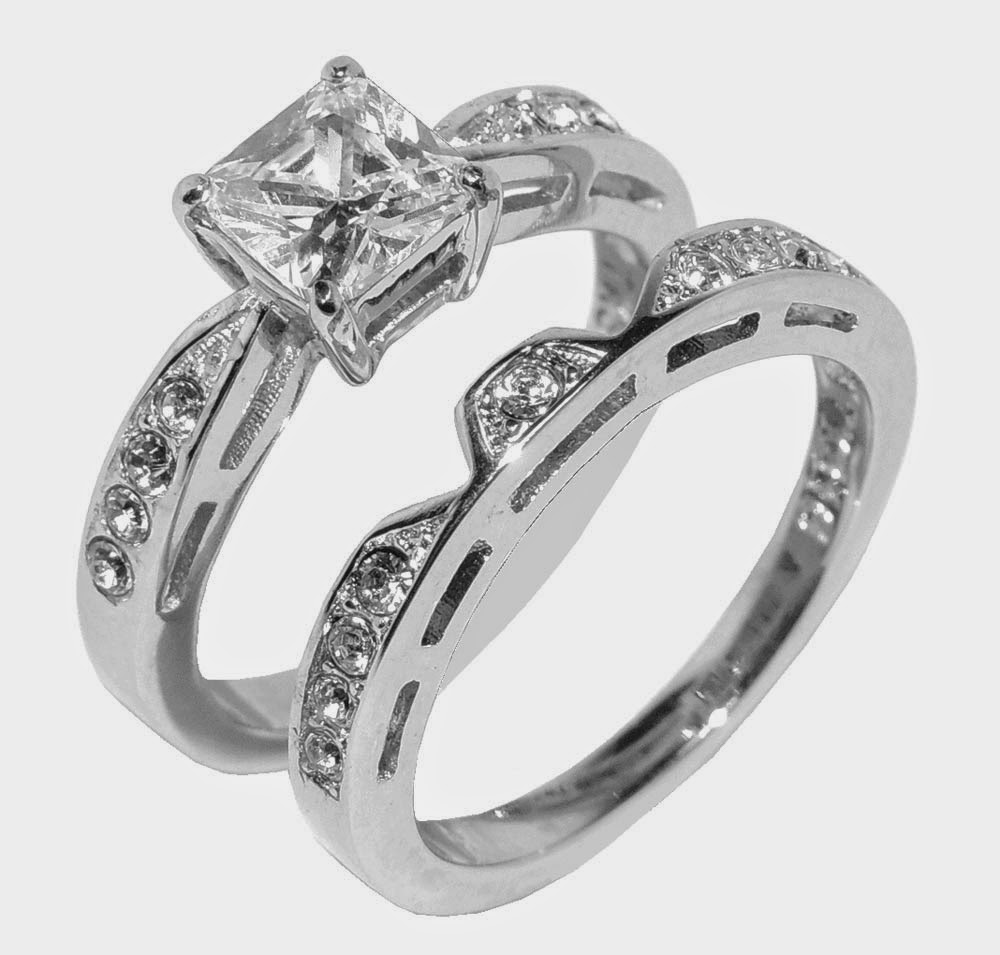 Unique Womens Wedding Ring Sets Rectangle Diamond Model