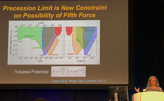 The Galactic Center unique laboratory constrains any 5th force (Andrea Ghez, UCLA, at APS Meeting in Denver)