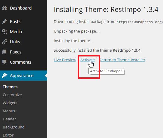 aktifkan tema yang baru saja anda instal