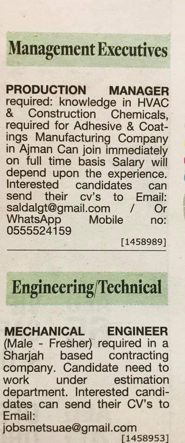Required Mechanical Engineer Fresher Production Manager For Uae Jobs Local Hiring Khaleej Times Uae 2211927 Jobs In Abroad