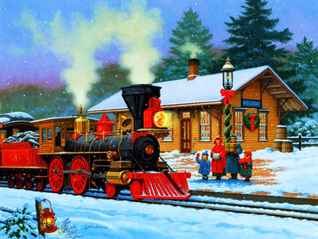 Santa Claus winter train ride in the north pole express