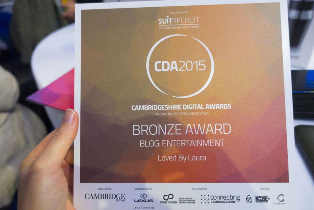 Cambridgeshire Digital Awards 2015   I Only Went And Won Something!
