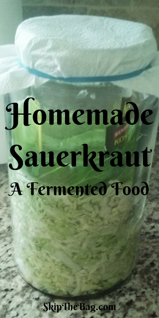 Homemade sauerkraut, an easily fermented food made from cabbage which is delicious.